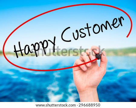 Man Hand writing Happy Customer with black marker on visual screen. Isolated on nature. Business, technology, internet concept. Stock Photo - stock photo