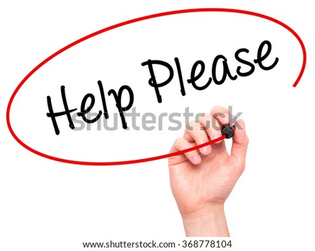 Man Hand writing Help Please with black marker on visual screen. Isolated on background. Business, technology, internet concept. Stock Photo - stock photo