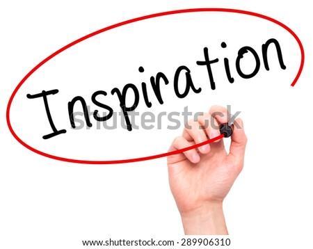 Man Hand writing Inspiration with black marker on visual screen. Isolated on white. Business, technology, internet concept. Stock Image - stock photo