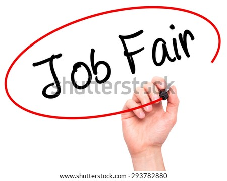 Man Hand writing Job Fair with black marker on visual screen. Isolated on white. Business, technology, internet concept. Stock Image - stock photo