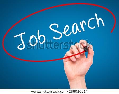 Man Hand writing Job Search with black marker on visual screen. Isolated on blue. Business, technology, internet concept. Stock Image - stock photo