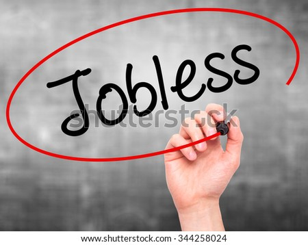 Man Hand writing  Jobless  with black marker on visual screen. Isolated on background. Business, technology, internet concept. Stock Photo