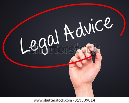 Man Hand writing Legal Advice with black marker on visual screen. Isolated on black. Business, technology, internet concept. Stock Photo - stock photo