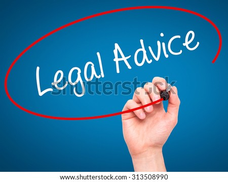 Man Hand writing Legal Advice with black marker on visual screen. Isolated on blue. Business, technology, internet concept. Stock Photo - stock photo
