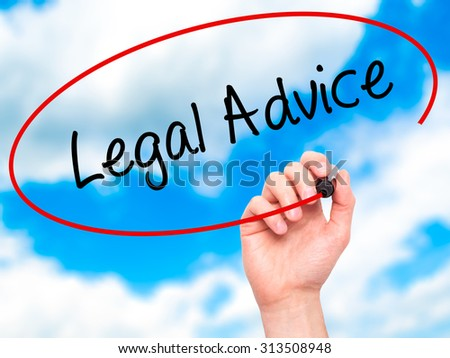 Man Hand writing Legal Advice with black marker on visual screen. Isolated on sky. Business, technology, internet concept. Stock Photo - stock photo