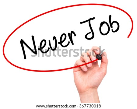 Man Hand writing Neuer Job  (New Job in German) with black marker on visual screen. Isolated on background. Business,  technology, internet concept. Stock Photo - stock photo