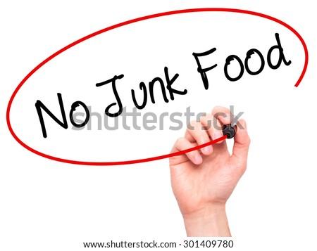 Man Hand writing No Junk Food with black marker on visual screen. Isolated on white. Business, technology, internet concept. Stock Photo - stock photo