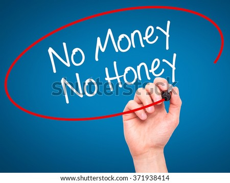 Man Hand writing No Money No Honey with black marker on visual screen. Isolated on background. Business, technology, internet concept. Stock Photo - stock photo