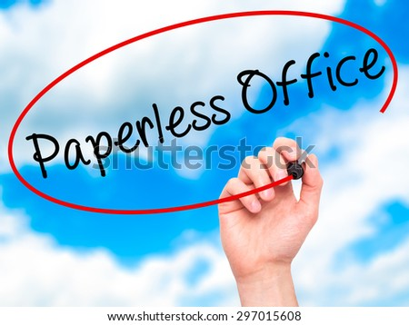 Man Hand writing Paperless Office  with black marker on visual screen. Isolated on sky. Business, technology, internet concept. Stock Photo - stock photo