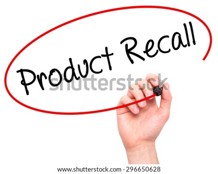 Man Hand writing Product Recall with black marker on visual screen. Isolated on white. Business, technology, internet concept. Stock Photo - stock photo