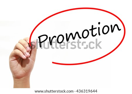 Man Hand writing Promotion with marker on transparent wipe board. Business, internet, technology concept.