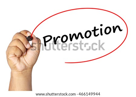 Man Hand writing promotion with marker on virtual screen