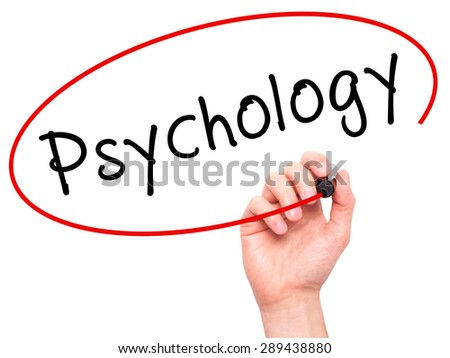 Man Hand writing Psychology with black marker on visual screen. Isolated on white. Business, technology, internet concept. Stock Image - stock photo