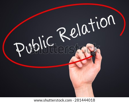 Man Hand writing Public Relations with marker on transparent wipe board isolated on black. Business, internet, technology concept. Stock Photo - stock photo