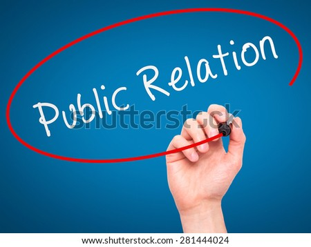 Man Hand writing Public Relations with marker on transparent wipe board isolated on blue. Business, internet, technology concept. Stock Photo - stock photo
