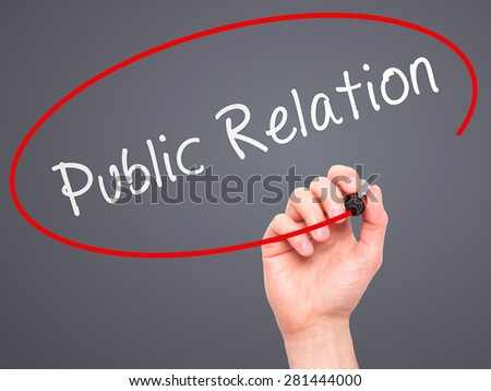 Man Hand writing Public Relations with marker on transparent wipe board isolated on grey. Business, internet, technology concept. Stock Photo - stock photo