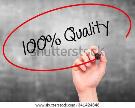 Man Hand writing 100% Quality with black marker on visual screen. Isolated on grey. Business, technology, internet concept. Stock Photo - stock photo
