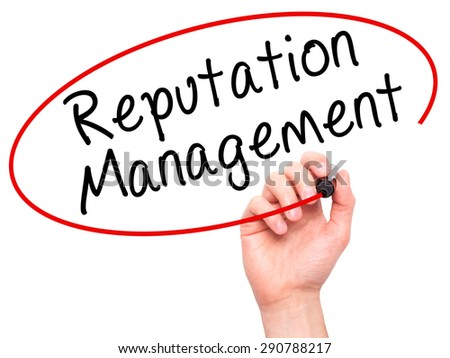 Man Hand writing Reputation Management with black marker on visual screen. Isolated on white. Business, technology, internet concept. Stock Image