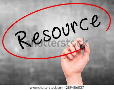 Man Hand writing Resource with black marker on visual screen. Isolated on grey. Business, technology, internet concept. Stock Image