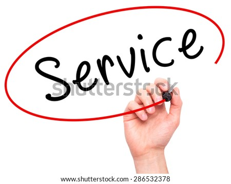 Man hand writing Service on visual screen. Business,help, internet, technology concept. Isolated on white. Stock Photo - stock photo
