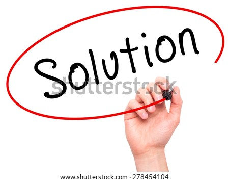 Man Hand writing Solution with marker on transparent wipe board. Isolated on white. Business, internet, technology concept.  Stock Photo - stock photo