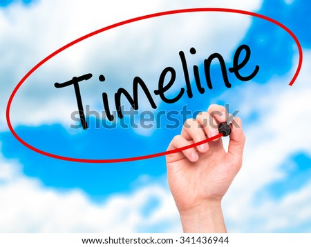 Man Hand writing Timeline  with black marker on visual screen. Isolated on sky. Business, technology, internet concept. Stock Photo