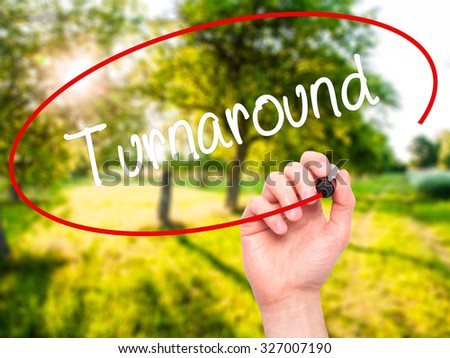 Man Hand writing Turnaround with black marker on visual screen. Isolated on nature. Business, technology, internet concept. Stock Photo - stock photo