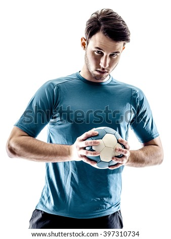 man handball player isolated - stock photo