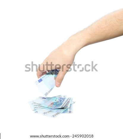 Man handling money. Isolated on white - stock photo
