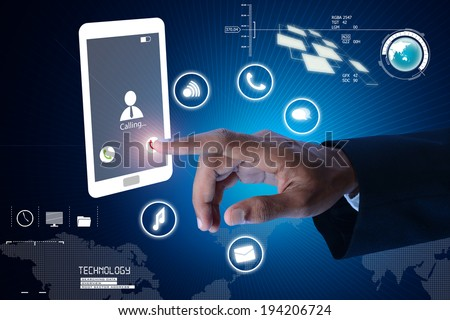 Man hands are pointing on touch screen