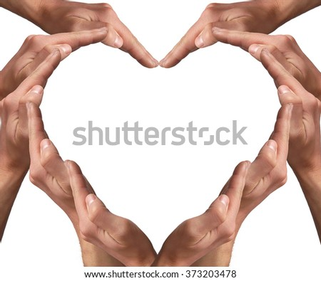 Man hands arranged in a heart shape isolated on white background. Love concept - stock photo