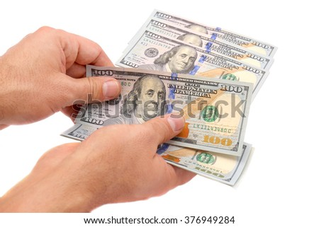 man hands counting 100 dollar bills  isolated isolated on white background - stock photo