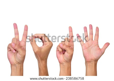 man hands forming the number 2015, as the new year, on a white background - stock photo