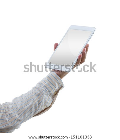 Man hands hold digital tablet isolated on white background with clipping path - stock photo
