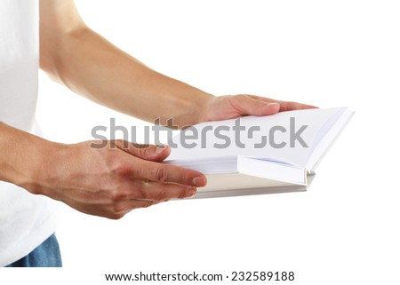 Man hands hold white book isolated on white - stock photo
