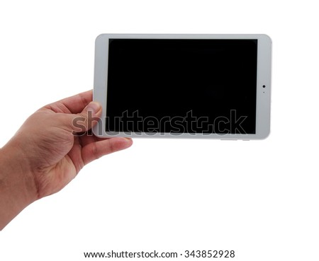 man hands holding a tablet touch computer gadget