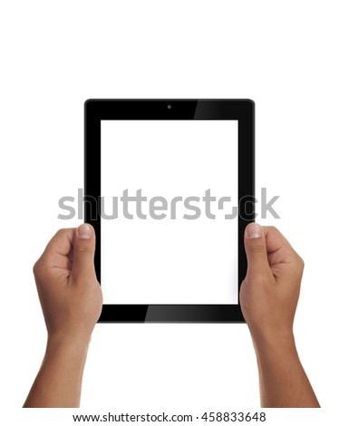 Man hands holding generic tablet.Tablet mockup. Portrait mode. Clipping path