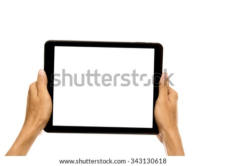 man hands holding tablet pc with white screen, isolated on white background
