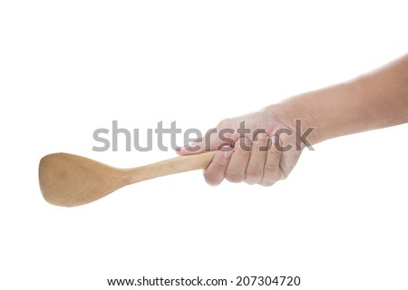 man hands holding wood spoon on a white background.
