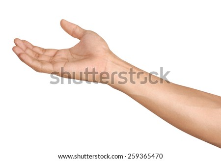 Man hands isolated is on white background - stock photo