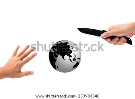 man hands isolated on white and Simulation Globe for Stop Terrorism Concept - stock photo