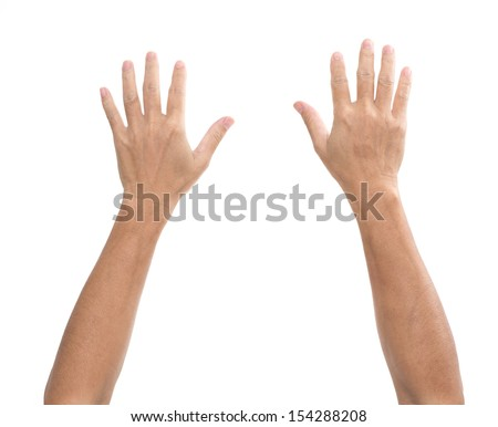 Man hands isolated on white background - stock photo