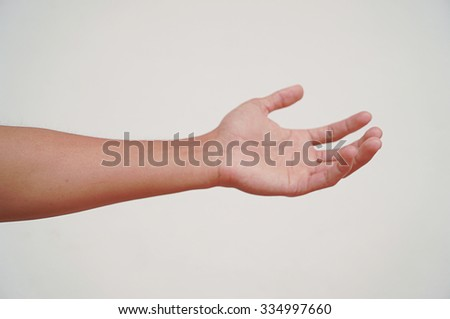 Man hands isolated on white background, soft focus - stock photo