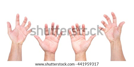Man hands, open hands, hands grabbing isolated on white background