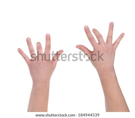Man hands playing piano. Isolated on a white background.