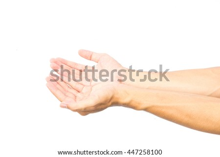 Man hands praying on white background, religion concept
