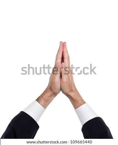 Man hands together symbolizing prayer and gratitude - stock photo