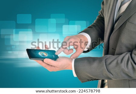 Man hands using smart phone. Image of Earth on phone screen. Element of this image furnished by NASA