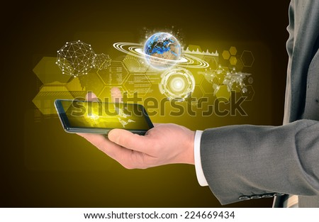 Man hands using smart phone. Image of world map on phone screen. Element of this image furnished by NASA - stock photo