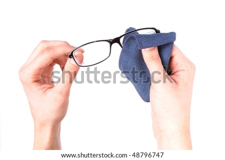 Man hands wiping glasses